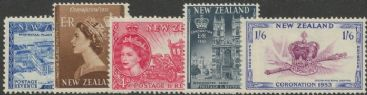 NZ SG714-8 Queen Elizabeth II Coronation set of 5